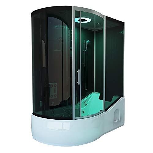 Home Deluxe - Duschtempel mit Regendusche und Handbrause - All IN 4in1 schwarz Links - Maße: 170 x 90 x 220 cm | Dampfsauna, Badewanne, Whirlpool, Dusche