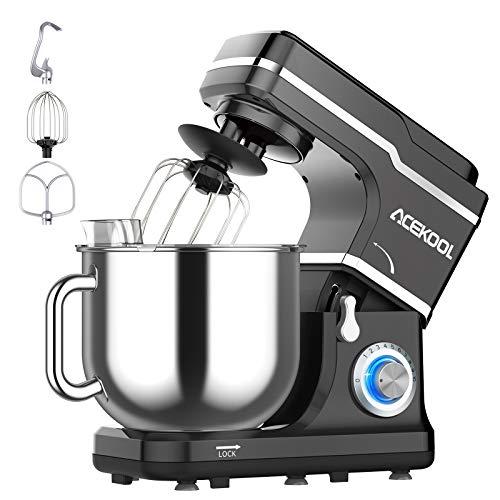 Küchenmaschine,Acekool 1400W mit 7L Edelstahl-Rühlschüssel,10 Geschwindigkeit Geräuschlos Teigmaschine,Rührbesen,Knethaken&Schlagbesen (black)
