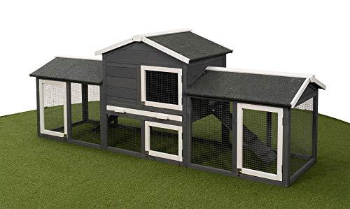 Miweba Hasenstall Kaninchenstall My Animal MH-03 XXL Doppelstockhaus mit Garten - Hasenkäfig - Kiefernholz - Winterfest - 2 Ebenen (Grau/Weiß XXL)