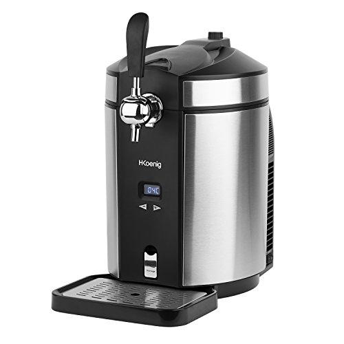 H.Koenig BW1880 Bierzapfanlage / Bierkühler / Temperatur regelbar von 12°C bis 2°C /5 L Universall-Bierfässer / mit CO2 Patronen / Edelstahl