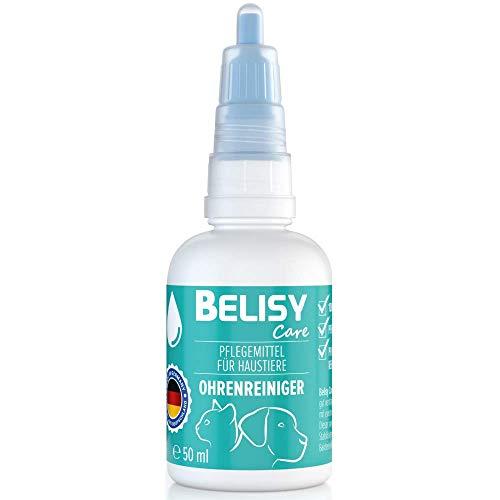 BELISY  Ohrenreiniger  für Hunde, Katzen & Kleintiere - 50 mL - 100% natürliches Ohrpflegeöl - Ohrentropfen gegen Juckreiz, Entzündungen & Milben - ohne Alkohol