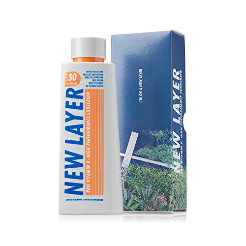 NEW LAYER Sonnencreme   LSF 30   Pro Vitamin D   Wasserfest   Ohne Mikroplastik   Reef-friendly - schonend zu Natur und Haut   Ohne Octocrylene   Gesicht und Körper   Erwachsene und Kinder (200ml)