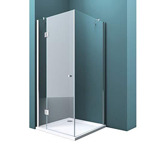 Duschabtrennung Klarglas 75x90, 8mm ESG-Sicherheitsglas, Duschwand aus Echtglas, Nanobeschichtung, Duschkabine R05k