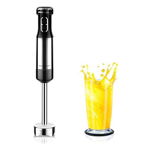 Aigostar Speedy 30JIL- Stabmixer 800 W mit Zubehör (edelstahl-Mixfuß) für Smoothie, Suppen und Babynahrung schwarz/edelstahl. EINWEGVERPACKUNG.