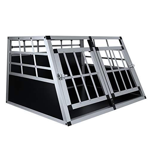 Allthemen Alu Hundetransportbox Hundbox Auto mit MDF Platten 2 Türen 89×69×50cm