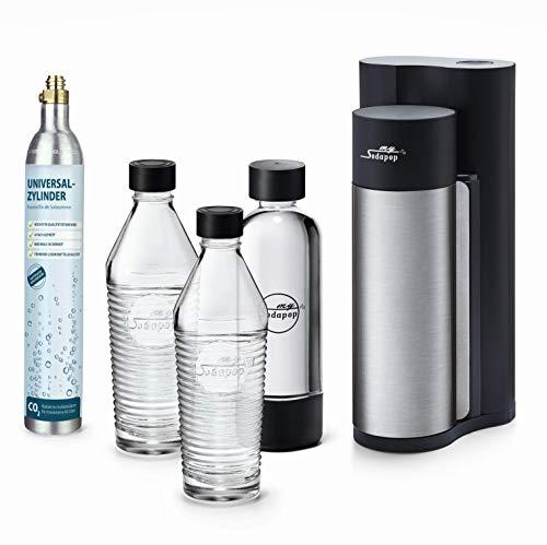 Sodapop HAROLD - Trinkwassersprudler inklusive zwei Glaskaraffen, einer PET Flasche und CO2-Zylinder, black matt