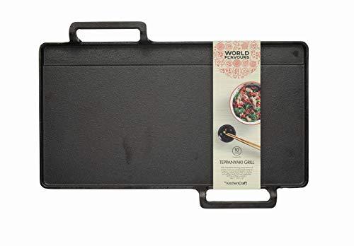 KitchenCraft World of Flavours Japanische Teppanyaki-Grillplatte, Gusseisen, Schwarz, 42,5 x 29 x 4,5 cm