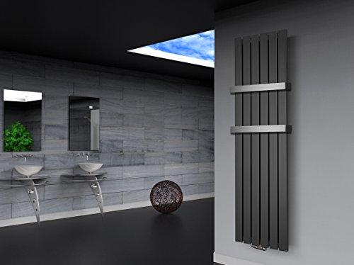 Badheizkörper Design Peking 3, HxB: 180 x 47 cm, 1118 Watt moonstone-grau (metallic) + 2 Handtuchhalter (50mm) (Marke: Szagato) Made in Germany/Bad und Wohnraum-Heizkörper (Mittelanschluss)