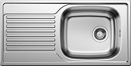 Blanco Magnat, Küchenspüle, reversibel, Edelstahl Naturfinish / mit 3 1/2' Korbventil - ohne Ablauffernbedienung; 511916