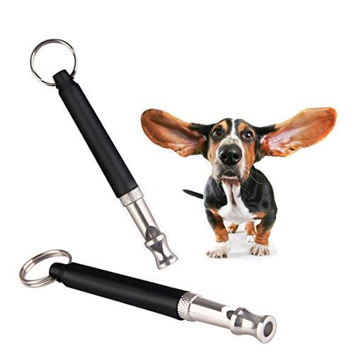 Hundepfeife Professionelle Ultraschall Pfeife Hochfrequenz Verstellbar mit Schlüsselband, Hundeerziehung Trainingpfeife Einstellbares Pitch für Hundetraining, Grundbefehle und Bellen Stoppen (2 Stück)