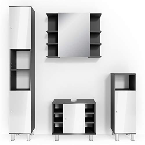 Vicco Badmöbel Set Badezimmermöbel Fynn Spiegel + Unterschrank + Midischrank + Hochschrank (Set 4, Anthrazit)