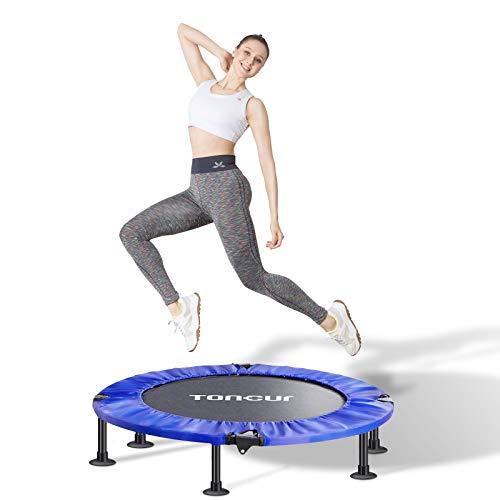 Toncur Mini Trampolin Fitness Faltbar für Erwachsene und Kinder mit Sicherheitspad / Anti-Rutsch-Saugnäpfen, leisem Übungs-Rebounder-Trampolin für das Training im Innen- und Gartenbereich