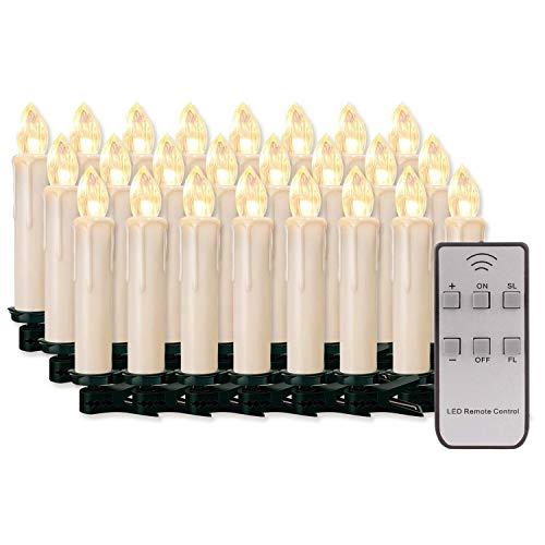 20/30/40/50/60 stk LED Kerzen LED Lichterkette Kabellos Dimmbar Kerzenlichter Flammenlose Weihnachtskerzen für Weihnachtsbaum, Weihnachtsdeko, Hochzeit, Geburtstags, Party (milchweisse Hülle, 20stk)
