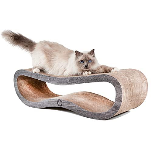 CanadianCat Company ®   Kratzbrett Orbit   dunkelgrau   Kratzmöbel, Lounge für Katzen   Kratzpappe + Katzenminze   ca. 84 x 24 x 23cm