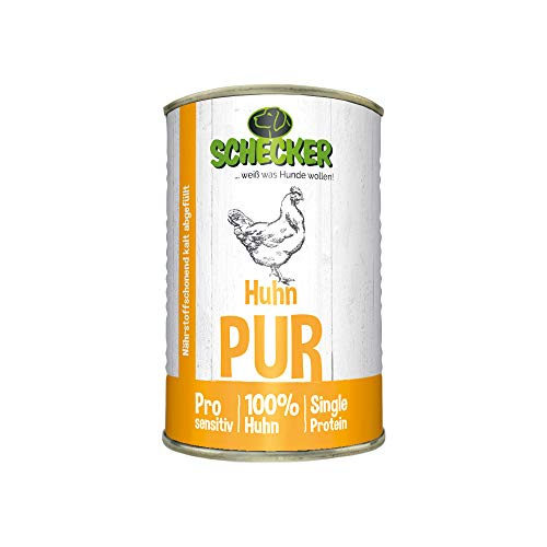 Schecker DOGREFORM pur - getreidefreies Nassfutter für den Hund (Huhn, 6X 410g)