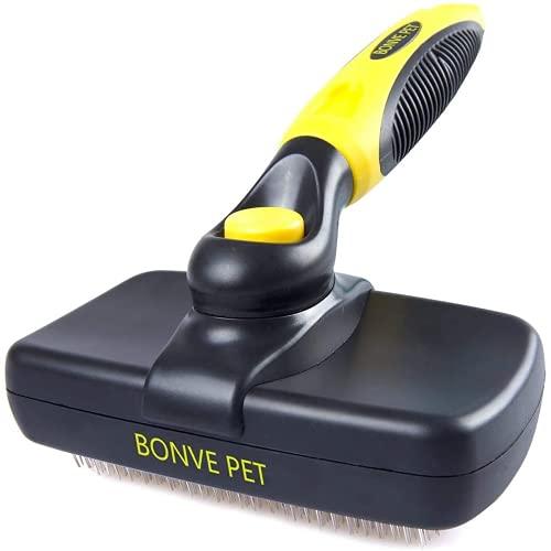 Bonve Pet Haustier Hundebürste Katzenbürste, Haustier Bürsten für Kurzhaar und Langhaar, Unterfellbürste, Sauberes Haustierhaar von der Bürste mit Einem Knopf