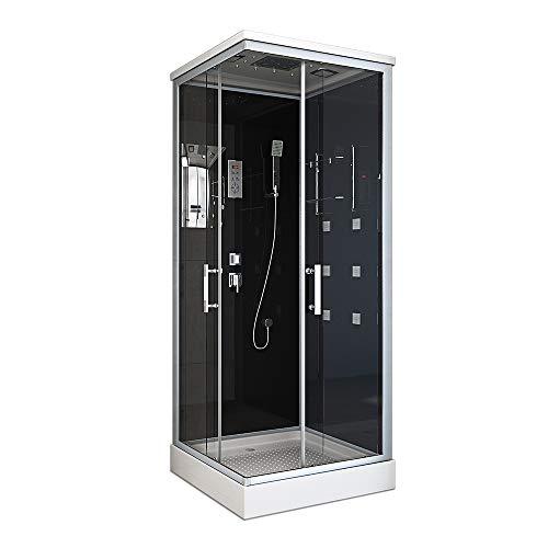 Home Deluxe - Komplettdusche 90x80 - Duschkabine Wave S mit Regendusche | Duschtempel, Fertigdusche, Dusche Komplett