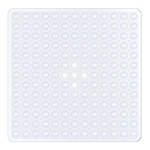XIYUNTE Quadrat Duschmatte rutschfest Badewannenmatten Antirutschmatte Dusche Badematte mit Saugnapf, 53×53 cm Duschmatten Badewanne Mat mit Ablauflöchern, Gummi badezimmermatte, Maschinenwaschbar, Weiß