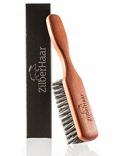 Zilberhaar Bartbürste (Weiche Borsten) | 100% Wildschweinborsten Mit Birnbaumholz | Funktioniert Mit Allen Bartbalsam & Öle | Made in Germany