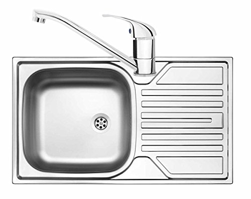 Edelstahlspüle inkl. Armatur Einbauspüle Spülbecken Spüle Küchenspüle, 76x43,5 cm, ZELB0110, eckig