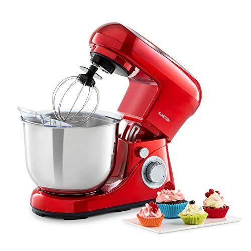 Klarstein Bella Pico 2G Küchenmaschine Rührmaschine, 1200 W / 1,6 PS in 6 Leistungsstufen mit Pulsfunktion, Planetarisches Rührsystem, 5 l Edelstahlschüssel, 3-tlg, rot