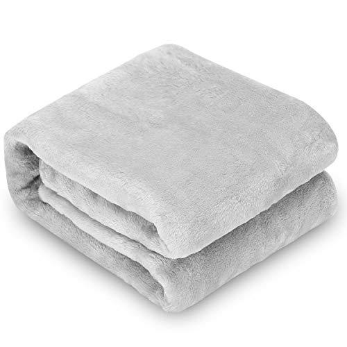 Nobleza Hundedecke Weiche Fleecedecke Waschbare Deck für Haustier Hunde Katzen Welpen Weiche Warme Matte Grau 120 * 100cm