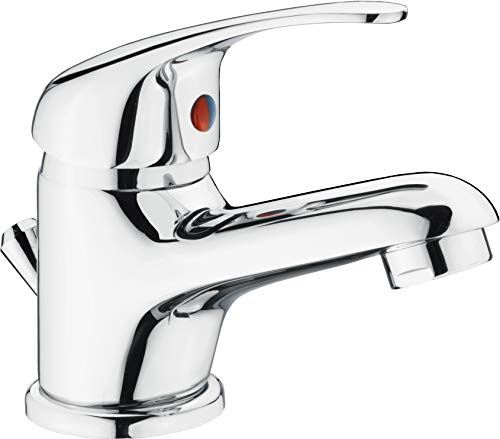 CON:P Waschtisch-Einhebelarmatur 'Piccolo' - Verchromter Messingkörper - Niedrige Auslaufhöhe - Mit Ablaufgarnitur / Wasserhahn fürs Bad / Waschbecken-Armatur / Badarmatur / SA840