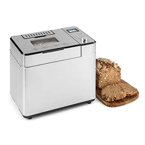 Klarstein Brotilde Family Brotbackautomat - 14 Programme, 3 Bräunungsgrade, bis 1 kg Brot, 1h-Warmhaltefunktion, Timer, LCD-Display, Sichtfenster, Zutatenspender, Antihaftversiegelung, Edelstahl