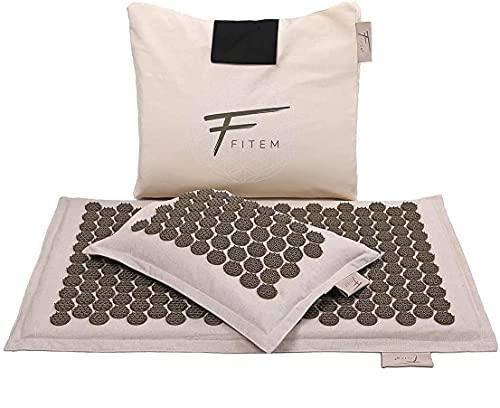 Fitem Akupressur-Set, hochwertig, umweltfreundlich, Akupressurmatte + Kissen + Tasche – lindert Schmerzen im Rücken und Nacken – Entspannung der Muskulatur - Patentierte