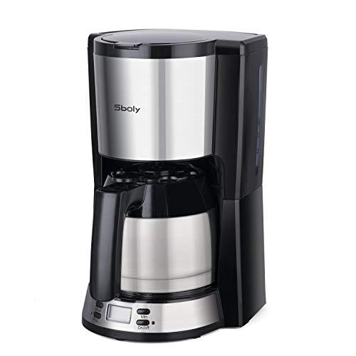 Kaffeemaschine mit thermoskanne, Sboly Filterkaffeemaschine mit Thermo-Kanne, kaffeemaschine mit programmierbarer Kaffeebrüher, einstellbar von 2-8 Tassen, kaffeemaschine mit Anti-Tropf-Funktion