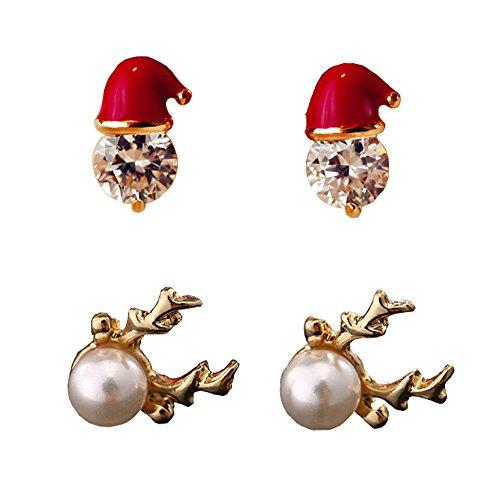 2 Paar Damen Weihnachts Ohrringe set Geweihe Weihnachtsmütze Ohrstecker Weihnachtsschmuck Geschenk Rot Perle