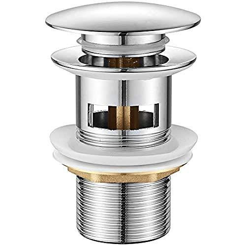 Ibergrif Universal Ablaufgarnitur POP UP- Anti-Blocking, Auslaufsicher, Korrosionsbeständig, Abflussstopfen Einfache Montage, Keine Werkzeuge Nötig, für Waschbecken mit überlauf Ablaufventil, Messing