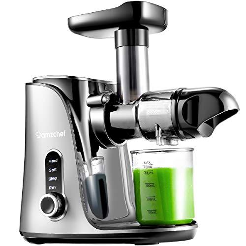 AMZCHEF Entsafter Slow Juicer leistungsstarker Entsafter für Obst und Gemüse mit 2 Geschwindigkeitsmodi, 2 Reiseflaschen (500 ml), LED-Anzeige, Reinigungsbürste und Ruhiger Motor,Grau