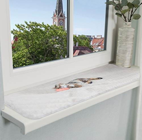 Trixie 37125 Liegematte Nani für Fensterbank, 90 × 28 cm, grau
