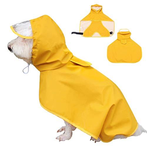 Dociote Hunderegenmantel Hunde Regenjacke wasserdicht mit Kapuze & Bauchschutz für kleine mitelgroße große Hunde 2XL Gelb