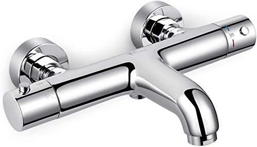 Amzdeal AZ015A Badewannenarmatur Wannenthermostat, Premium Qualität Wannenarmatur Thermostat, Mischbatterie Dusche Thermostat, 2 Funktionen Kartusche & Waben Belüfter, Einfache Montage/Messing Chrom