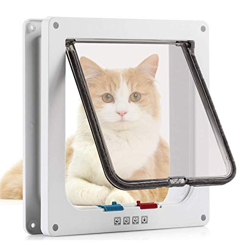 Pujuas Katzenklappe Hundeklappe mit 4-Wege-Magnet-Schließ, Haustierklappe für Katzen, Katzentüre mit Tunnel