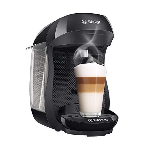 Tassimo Happy Kapselmaschine TAS1002 Kaffeemaschine by Bosch, über 70 Getränke, vollautomatisch, geeignet für alle Tassen, platzsparend, 1400 W, schwarz/anthrazit