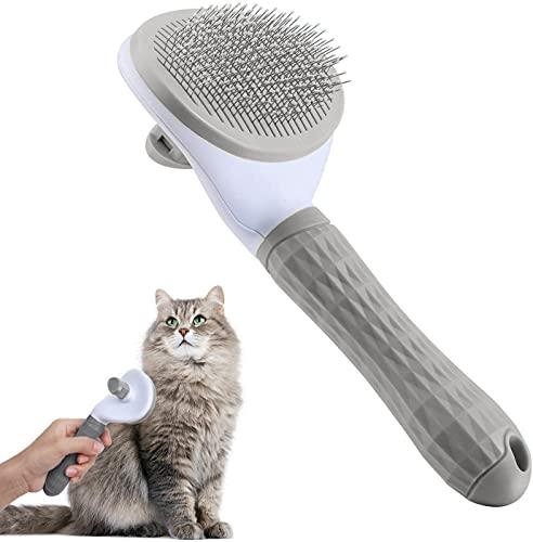 Katzenbürste, Selbstreinigende Zupfbürste entfernt Unterwolle Hundebürste Hundebürste Katzenbürste Kurz bis Langhaar Geeignet Sanfte Katzenbürste Zupfbürste (Grau) (Grau)