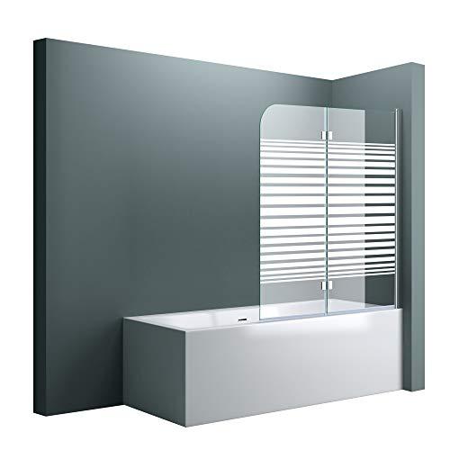 doporro BxH:120x140cm Duschabtrennung/Duschwand für Badewanne aus Glas Cortona1408S-rechts,Badewannenaufsatz inkl. Nanobeschichtung Badewannenfaltwand