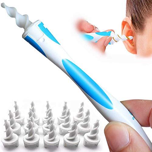 Q-Grip Ohrenschmalz-Entferner, Upgraded Spiral Tupfer Ohrenschmalz-Entferner Kit Ohrenreiniger mit 16 Ersatzköpfe, sichere Ohrenschmalz-Entfernung Werkzeug Ear Cleaner