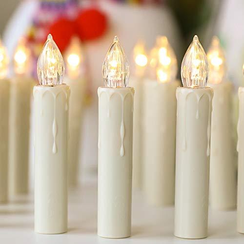 40 LED Kerzen Flammenlose mit Timer Fernbedienung,Starker Weihnachtskerzen Batteriebetriebene, IP64 Dimmbar Kerzenlichter Weihnachtskerzen für Weihnachtsbaum,Weihnachtsdeko,Hochzeit,Geburtstags,Ostern