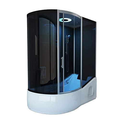 Home Deluxe - Duschtempel mit Regendusche und Handbrause - All IN 2in1 schwarz Links - Maße: 170 x 90 x 220 cm | Komplettdusche mit Wanne, Fertigdusche, Dusche, Duschkabine Komplett