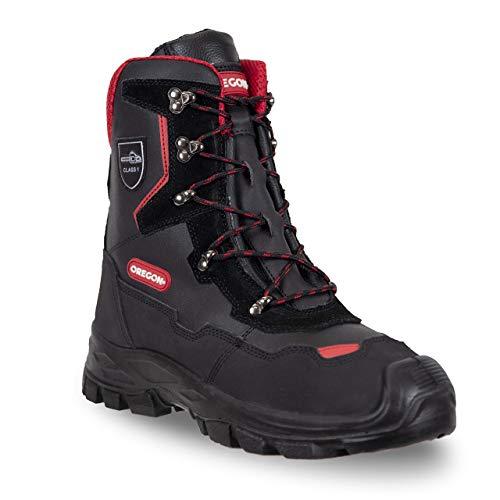 Oregon Yukon Klasse 1Leder-Sicherheitsstiefel für Kettensägenarbeiten, Mehrfarbig (Schwarz/Red) ,44 EU