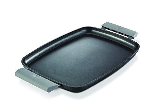 Beka Teppanyaki Platte PLANCHA Antihaftbeschichtete Grillplatte 47 cm flach, inklusive Silikongriffe, Aluminium, Schwarz