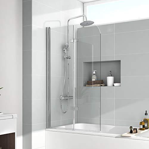 EMKE 120x140cm Faltwand für Badewanne Duschabtrennung Badewannenaufsatz Faltwand Duschtrennwand NANO-GLAS