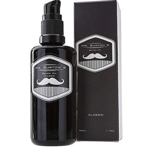 Bartöl - Mr. Burton´s Beard Oil - CLASSIC - unverwechselbarer Duft - PRODUKTSIEGER 2020 - Made in Germany - 50ml Bart Öl für die Bartpflege - mit Arganöl Tierversuchsfrei und vegan
