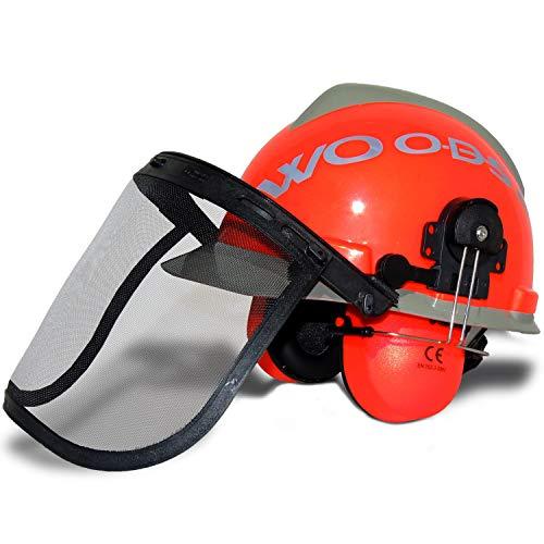 WOODSafe Forsthelm Orange/Grau inklusive Gehörschutz, Klappvisier, Nackenschutz - Schutzhelm für Waldarbeiter nach EN 397