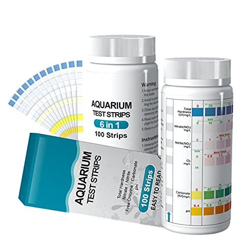 6 in 1 Aquarium Teststreifen, 100 Streifen Aquarium Test Kit zum Testen von PH Nitrit Nitrat Chlor Allgemein Karbonathärte, genaue Salzwasser, Süßwasser Aquarium Wasserprüfung