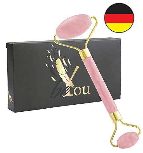 beYou Premium Rosenquarz Roller echt - inkl. edler Premium Tasche - hochwertiger Rosenquartz Gesichtsroller - inkl. Gratis E-BOOK Set und Anleitung